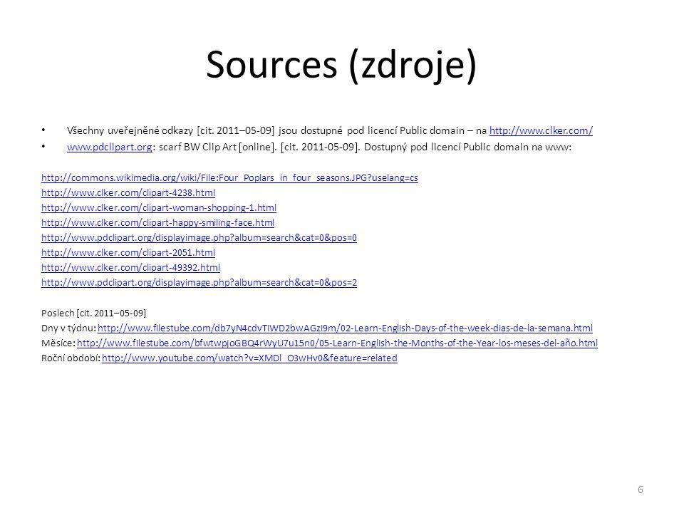 Sources (zdroje) Všechny uveřejněné odkazy [cit. 2011–05-09] jsou dostupné pod licencí Public domain – na http://www.clker.com/